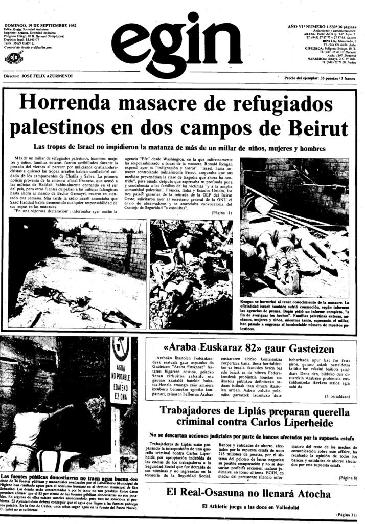 Beiruteko palestinarren errefuxiatu kanpamenduetan sarraskia egin zuten Israelen aliatuek.